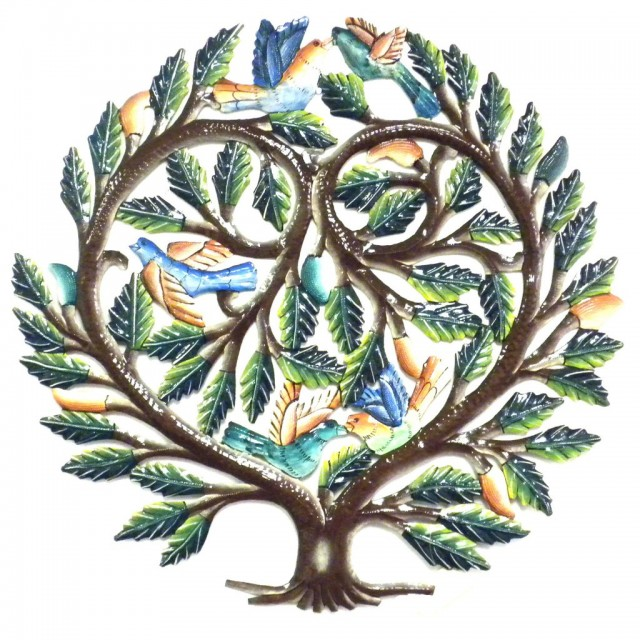 24 inch Painted Tree of Life Heart - Croix des Bouquets