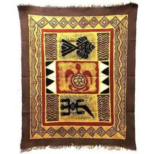 Three Creatures Batik in Gray/Red - Tonga Textiles